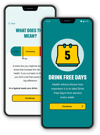 """Screens from the Drink Free Days app. Screen 1: """"red, orange, green"""" rating for alcohol intake. Screen 2: a motivational message for achieving 5 drink-free days"""
