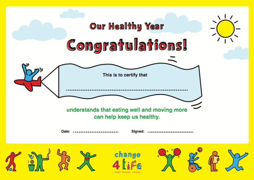 Our Healthy Year: Reception celebration certificate