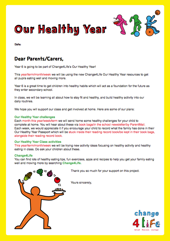 Our Healthy Year: Year 6 take-home resources