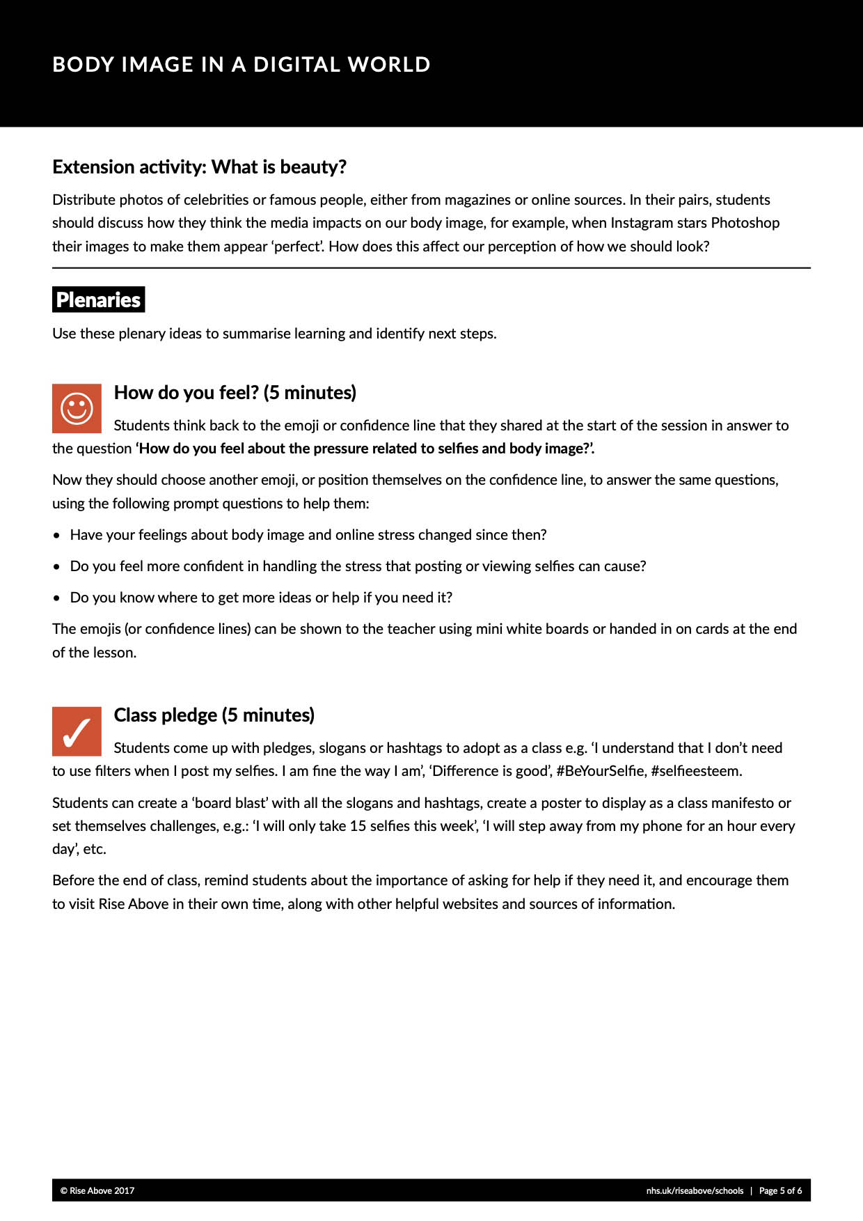 Body image lesson plan pack
