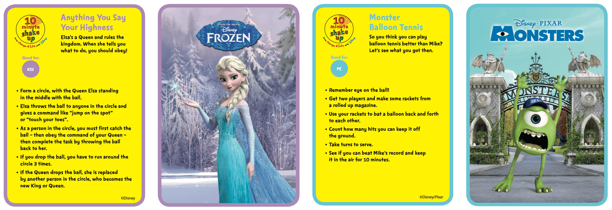 10 Minute Shake Up games with Frozen and Monsters