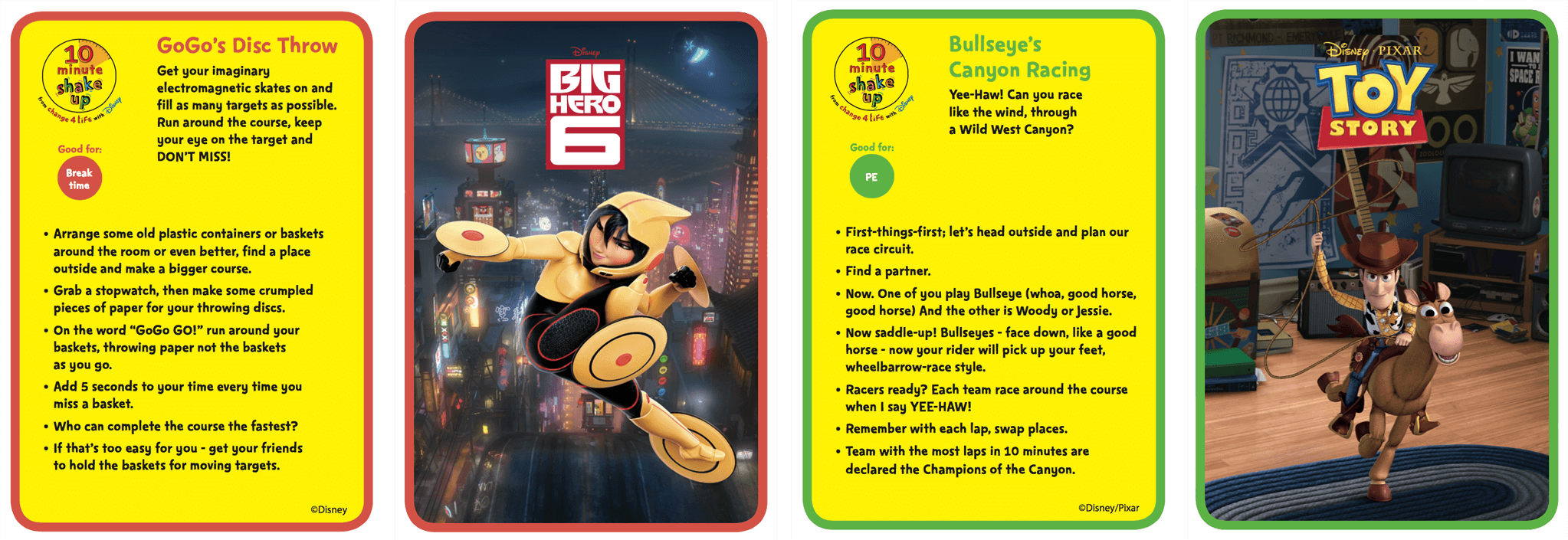 10 Minute Shake Up games with Big Hero 6 and Toy Story