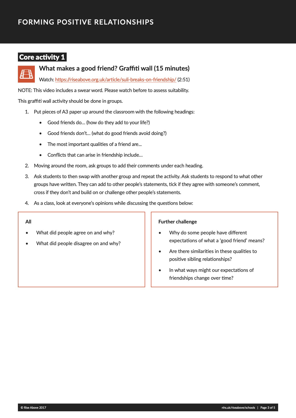 Forming positive relationships lesson plan pack