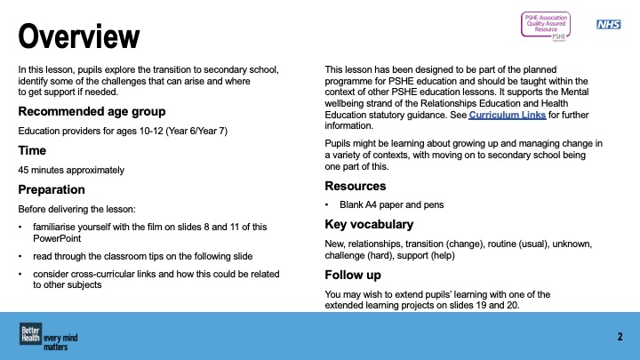 Transitioning to a new secondary school lesson plan