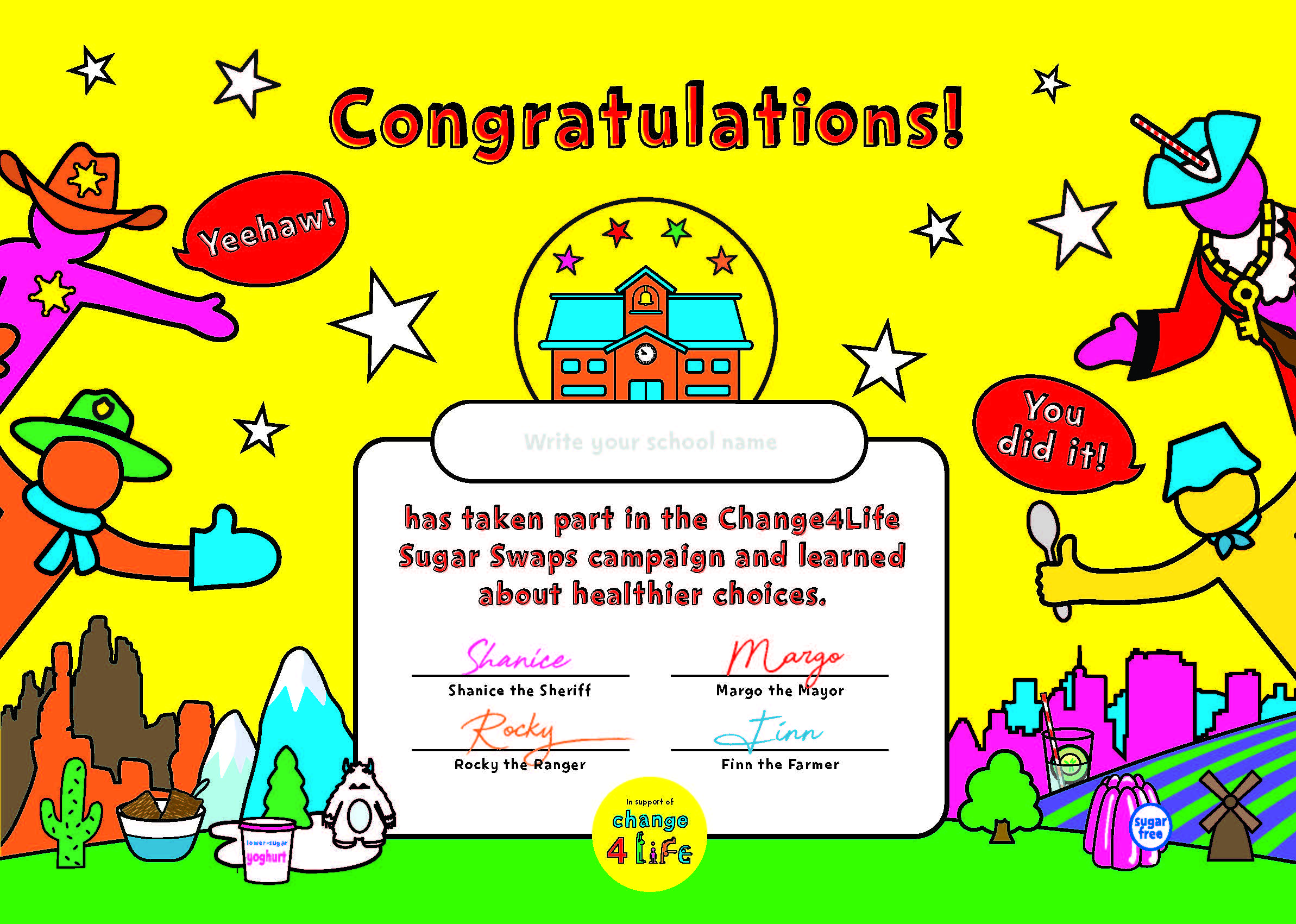 Sugar Smart World take-home pack school certificate