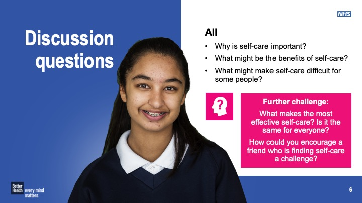 Self care - KS3 and KS4 form time activities