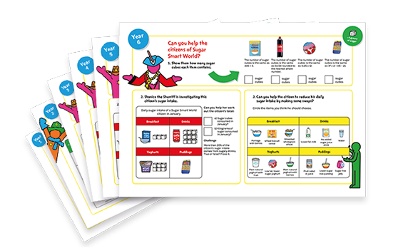 Sugar Smart World maths worksheets for Years 1 to 6