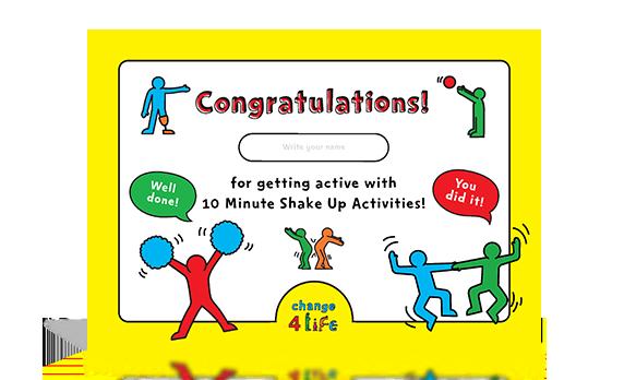 Shake Up certificate