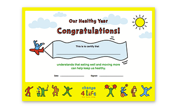 Our Healthy Year: celebration certificate